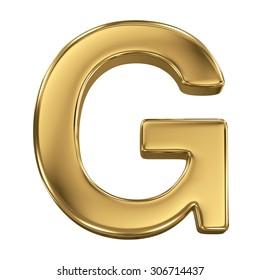 Golden shining metallic 3D symbol letter G - isolated on white