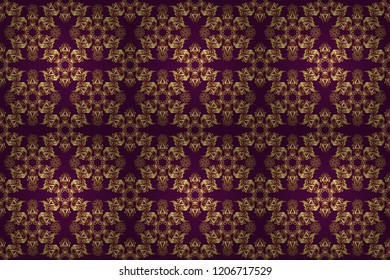 Golden shiny ornament on purple background, damask seamless pattern, abstract shapes. Raster illustration.