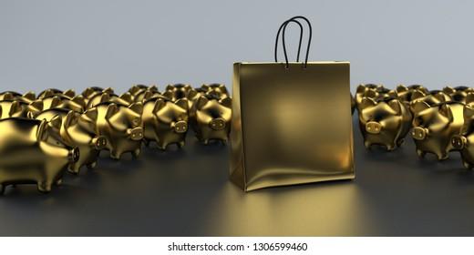 Golden shopping bag with piggy banks on the dark background. 3d illustration.