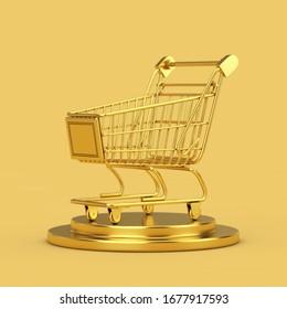 Golden Shopping Cart on a Golden Pedestal on a yellow background. 3d Rendering