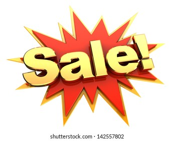 golden sign of word sale on red star, isolated