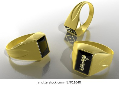 Golden signet ring with the prison symbols.