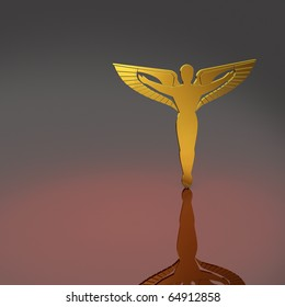 Golden silhouette of caduceus - the symbol of/for chiropractors