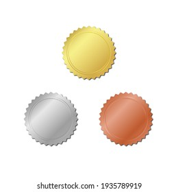 Golden, silver and bronze stamps isolated on white background