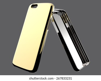 Golden and silver cases for smartphone. Isolated on grey