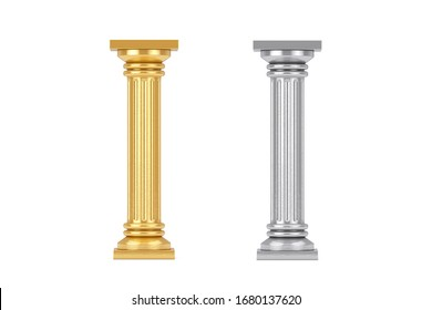 Golden and Silver Classic Greek Column Pedestal on a white background. 3d Rendering