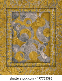 Golden and silver frame texture embossed circles