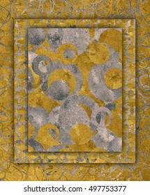Golden and silver frame texture in relief