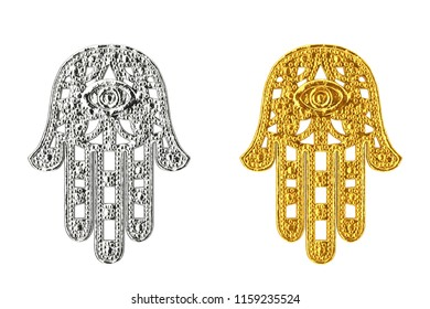 Golden and Silver Hamsa, Hand of Fatima Amulet Symbol on a white background. 3d Rendering