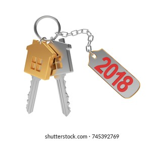 Golden and silver keys-house and text 2018 on label isolated on a white background. 3D illustration