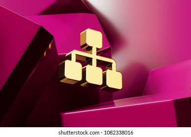 Golden Sitemap Icon With the Magenta Glossy Boxes. 3D Illustration of Fine Golden Chart, Flowchart, Hierarchy, Navigation, Org, Organization Icon Set on the Magenta Geometric Background.