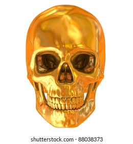 golden skull isolated
