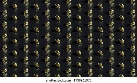 Golden skulls on dark background with bokeh effect - 3D rendering