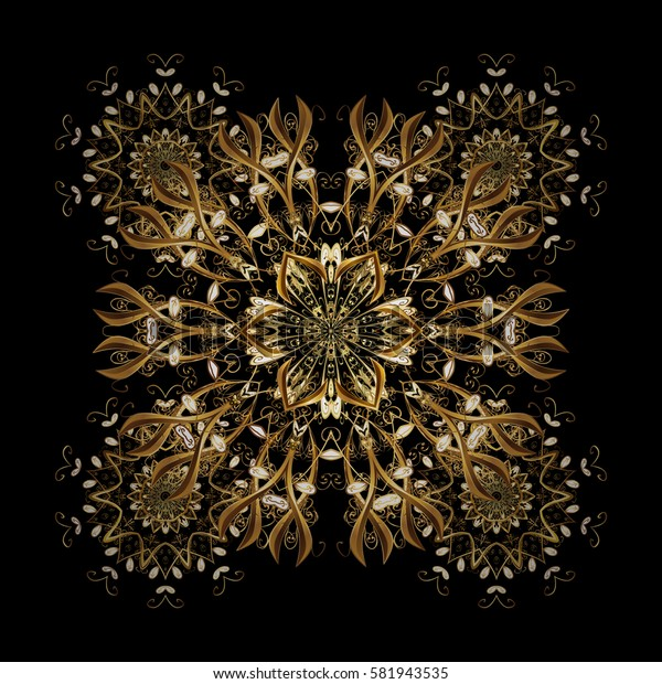 Golden snowflake. Flat design with abstract snowflakes isolated on black background. Snowflakes background. Snowflakes pattern.