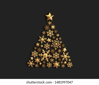 Golden snowflakes in the shape of a Christmas tree on black background. 3D rendering