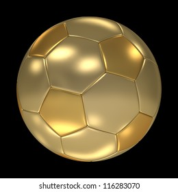 A golden soccer ball isolated on black background. Computer generated image with clipping path.