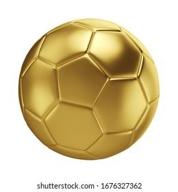 Golden soccer ball isolated on white background. Football sport game ball. 3d illustration.