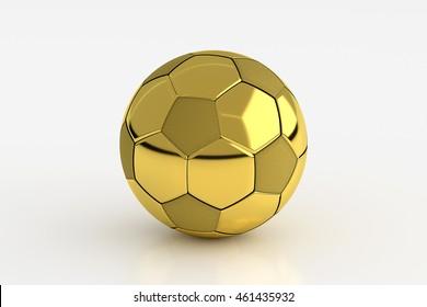 Golden Soccer Ball Isolated on White, 3D Rendering