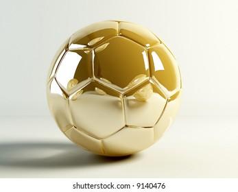 Golden soccer ball isolated on white background.