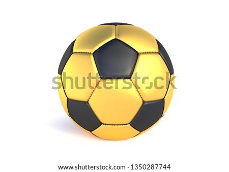 4daa4be10 Golden soccer ball isolated on white background. Golden football ball.  Realistic soccer 3d ball