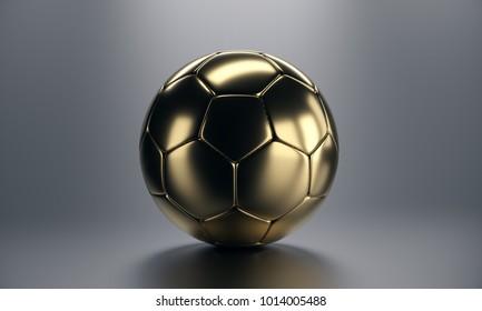 Golden soccer ball on grey background. 3d render