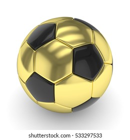Golden soccer ball on white background. 3D rendering.
