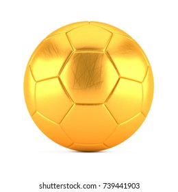 Golden Soccer Ball with scratches on white background. 3D Illustration