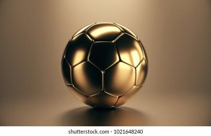 Golden soccer football ball on golden background. 3d rendering golden soccer ball