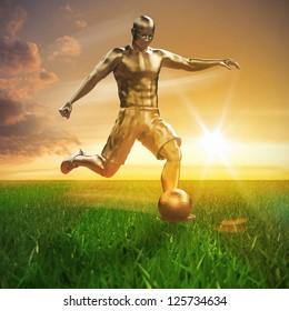 Golden soccer player on field 3D