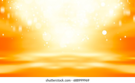 Golden sparkle empty room studio gradient with Gold sparkle used for background and display your product