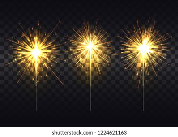 Golden sparklers that spread light on thin metal stick realistic isolated  illustrations set on dark transparent background.