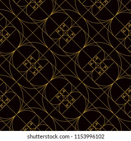 Golden spirals reflected in a repeat pattern in yellow line on black background. In geometry, a golden spiral is a logarithmic spiral whose growth factor is phi, the golden ratio.
