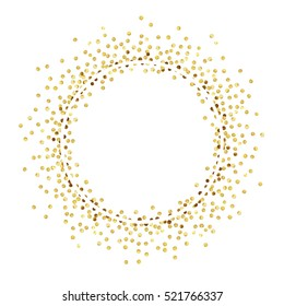 Golden splash or glittering spangles round frame with empty center for text. Golden glittering  circle  made of tiny uneven round dots on white background. Illustration.