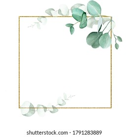 golden square frame with watercolor eucalyptus leaves isolated on white background. design for weddings, invitations, cards. vintage logo for perfumery, cosmetics