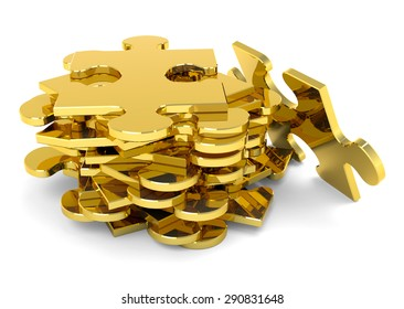 Golden stacked puzzle pieces. 3D, metallic JigSaw.