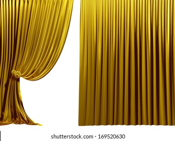 golden Stage curtain, Theater drapes, useful for your presentation