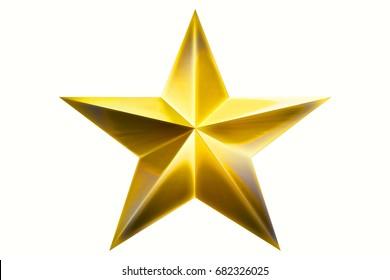 Golden Star award for game isolated on white Background. Star. Star Award. (isolated on white and clipping path) 3D illustration.