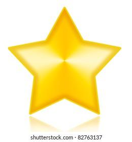 Golden star illustration isolated on white