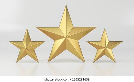 Golden star isolated on white. 3d render
