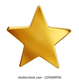 golden star isolated on a white background. 3d illustration