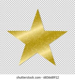 Golden Star On Transparent Background