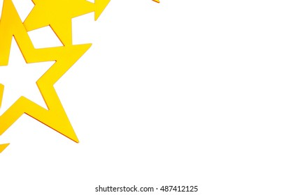 Golden stars on white background with space for text
