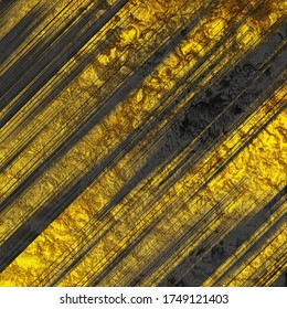 Golden stripes of glossy metallic paint on a dark marble background. 3d illustration
