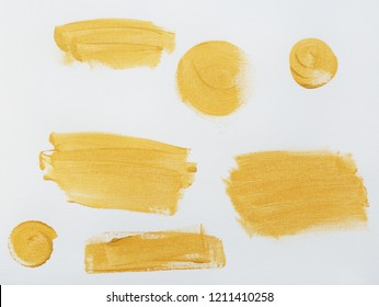 Golden strokes, oil painting on canvas. Stripes. Artistic background, stains set.