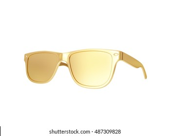 Golden sun glasses. 3d rendering