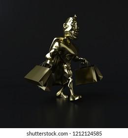 Golden superhero - 3D illustration