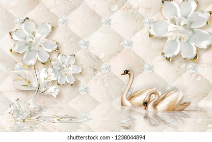 Golden swan and flowers on water decorative background