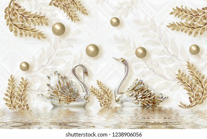 Golden swan on water with decorative floral background 3D wallpaper