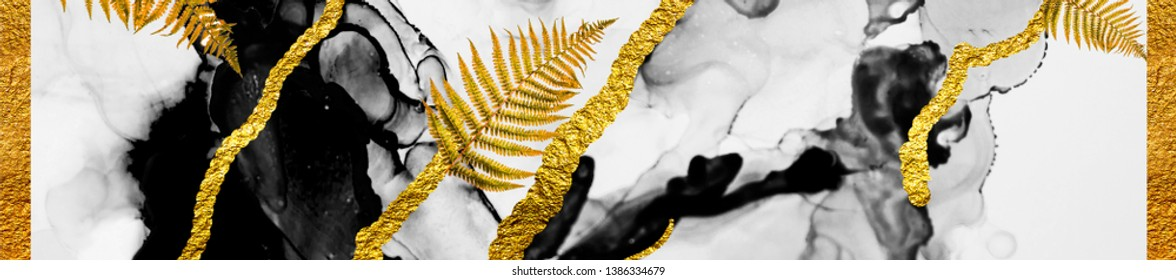 Golden swirl, tropical colors- beautiful painting. ART&GOLD. Masterpiece of designing art, exotic paper texture. Oriental pattern, ancient drawing. Popular trendy artistic design.