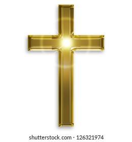 golden symbol of crucifix isolated on white background